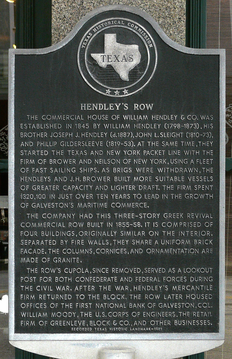 Hendley Row Texas State Historical Marker
